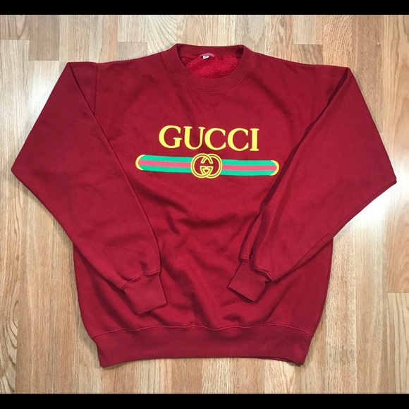 hanes sweaters red vintage gucci crewneck medium m sweater jacket
